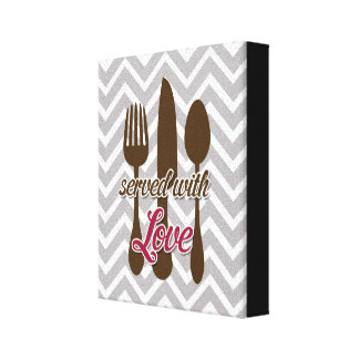 Creative Kitchens - Utensils on chevron Stretched Canvas Print
