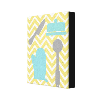 Creative Kitchens - Utensils on chevron Stretched Canvas Prints