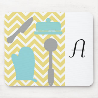 Creative Kitchens - Utensils on chevron. Mouse Pad