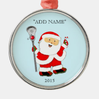 Creative Lacrosse Christmas Silver-Colored Round Decoration