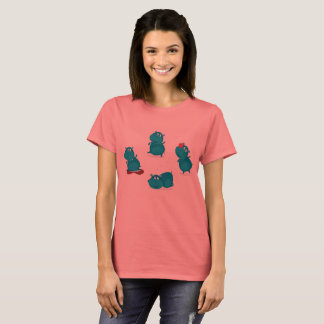 CREATIVE LADIES T-SHIRT WITH BLUE HIPPOS