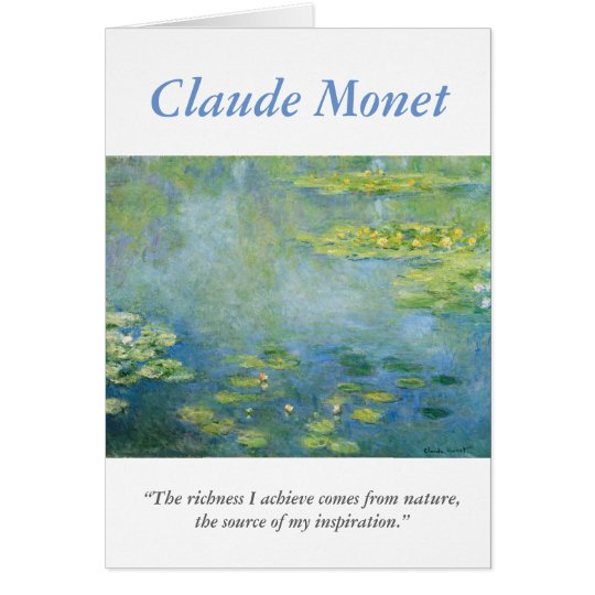 Creative Monet Artist Quote with Waterlilies Card