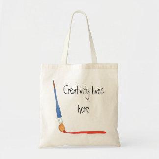 Creative paint brush tote budget tote bag