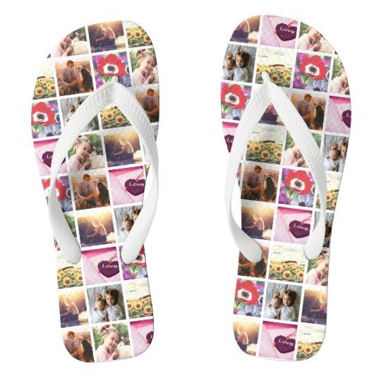 Creative Personalised image mosaic Flip Flops