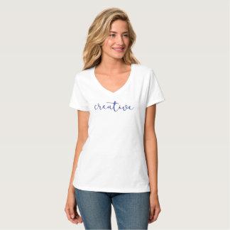 Creative White V neck t shirt