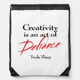 Creativity is defiance drawstring bag