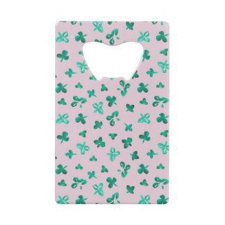 Credit card bottle opener with clover leaves