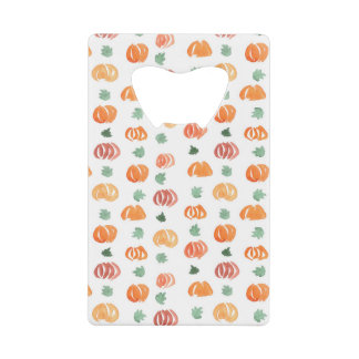 Credit card bottle opener with pumpkins and leaves
