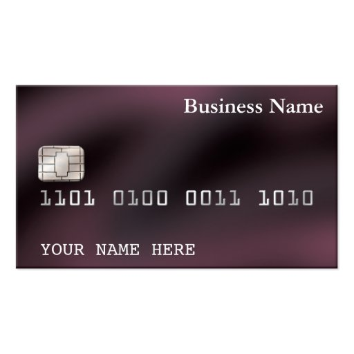 Credit card style business card 2 sided purple zazzle for Regions business credit card
