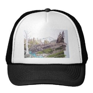 creek and mountains mesh hats