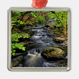 Creek flows through forest christmas ornament