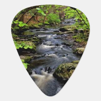Creek flows through forest guitar pick