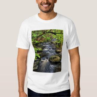 Creek flows through forest tee shirts