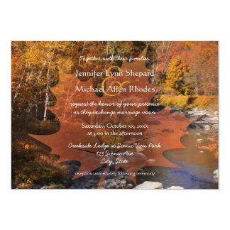 Creekside woods maple leaf autumn wedding card