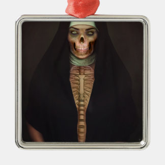 Creep Horror Nun Lady Skull Skeleton Christmas Ornament