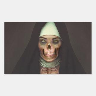 Creep Horror Nun Lady Skull Skeleton Rectangular Sticker
