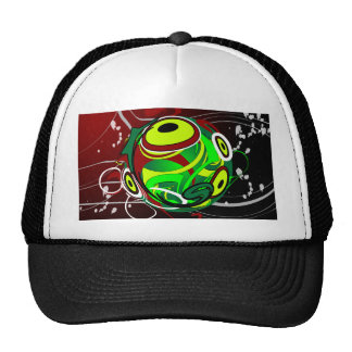 Creepy Abstract Red Green Eye Cap