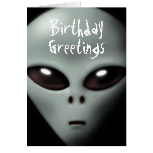 Creepy Alien Birthday Card