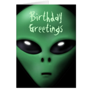 Creepy Alien Birthday Card