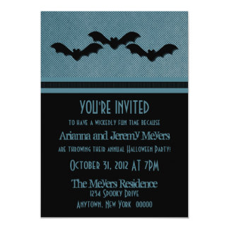 "Creepy Bats Halloween Party Invite, Dark Blue 5"" X 7"" Invitation Card"