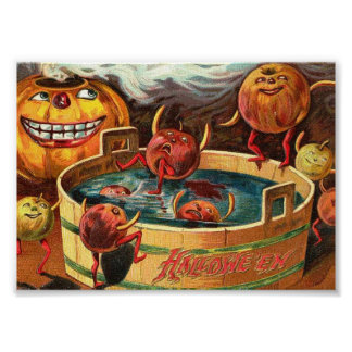 Creepy Bobbing Apples Vintage Halloween Art Print