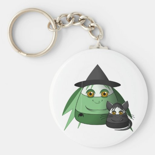 Creepy Candy Corn Witch And Cat Key Chains
