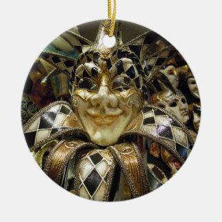 Creepy Carnival Mask Round Ceramic Decoration