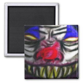 Creepy Clowm Square Magnet