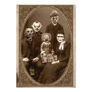 Creepy Clown Family Halloween Party Card
