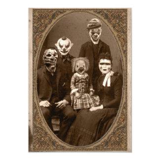 Creepy Clown Family Halloween Party 13 Cm X 18 Cm Invitation Card