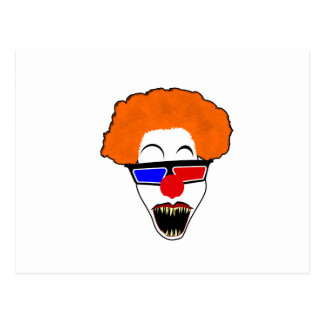 Creepy Clown in Red Blue 3D Glasses Postcard