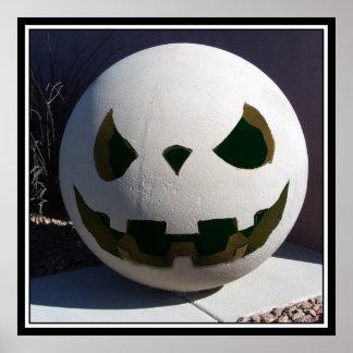 Creepy Concrete Carved Pumpkin Poster