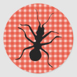 Creepy Crawly Ant Plaid Tablecloth Round Stickers