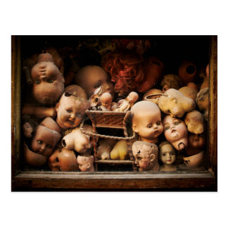 Creepy, Decapitated Doll Heads Postcard