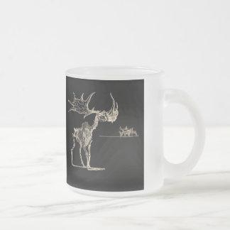 Creepy Elk Skeleton with Deer Animal Bones Frosted Glass Mug