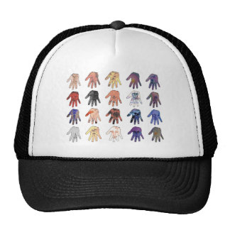 Creepy Faces and Eyes in Hands Mesh Hats