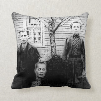 Creepy Family Portrait, Headless Throw Pillow Cushions