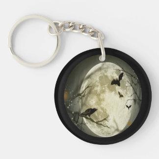 Creepy Full Moon with Birds Single-Sided Round Acrylic Key Ring