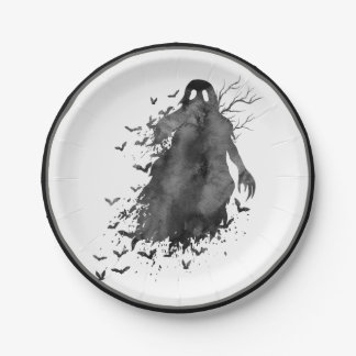 Creepy Ghost Halloween Paper Plate