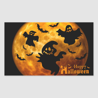 Creepy Ghost, Vampire Bats and Halloween Moon Rectangular Sticker