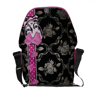 Creepy Girl Skull with Pink Bow on Black Damask Commuter Bags