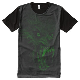 Creepy Glow in the Dark Werewolf Dark Horror Art All-Over Print T-Shirt