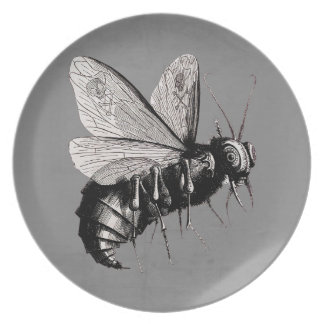 Creepy Gothic Bee Skull Wings Insect Plate