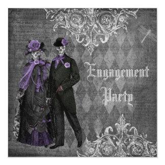 Creepy Halloween Bride & Groom Engagement Party 13 Cm X 13 Cm Square Invitation Card