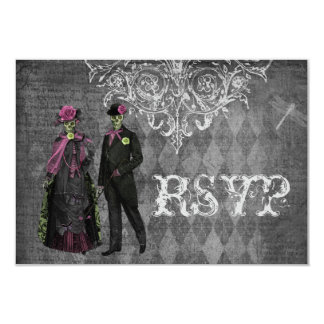 Creepy Halloween Bride & Groom RSVP Wedding Card
