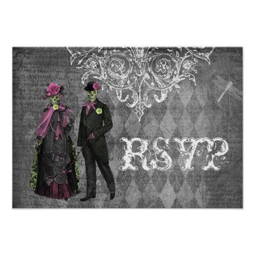 Creepy Halloween Bride & Groom RSVP Wedding Custom Announcement