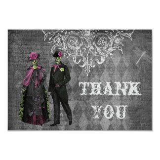 Creepy Halloween Bride & Groom Thank You Wedding 9 Cm X 13 Cm Invitation Card