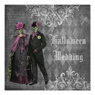 Creepy Halloween Bride & Groom Wedding 13 Cm X 13 Cm Square Invitation Card