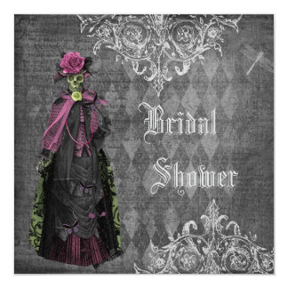 Creepy Halloween Bride Shabby Chic Bridal Shower 13 Cm X 13 Cm Square Invitation Card