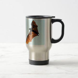 Creepy halloween flying fox (fruit bat) travel mug